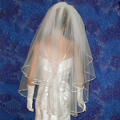 bridal wedding veil two tier with satin cord finger tip